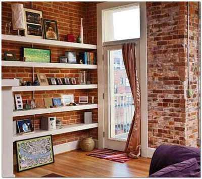 Полки из гипсокартона в интерьере современной квартиры